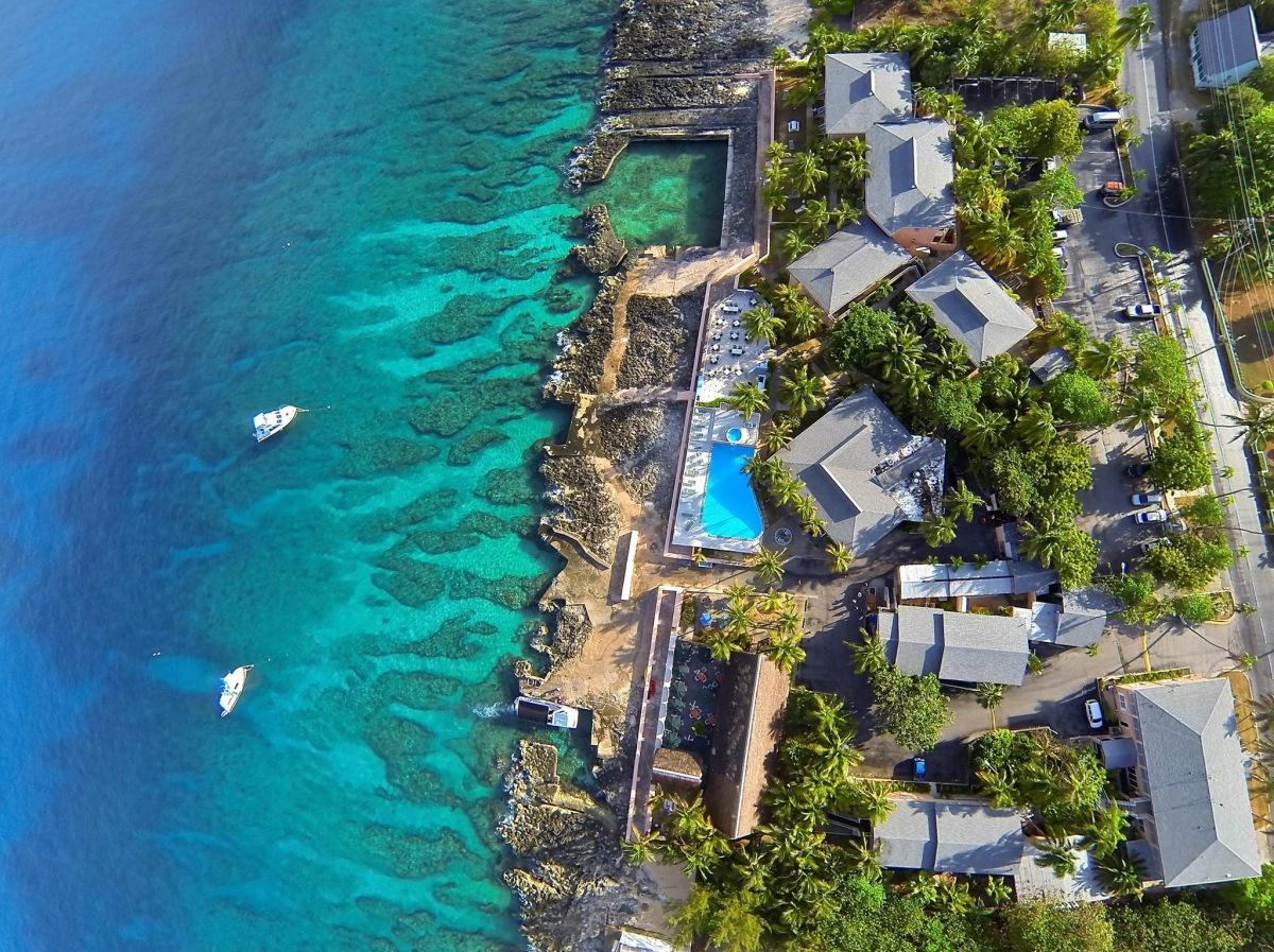 aerial photo cayman islands sunset house